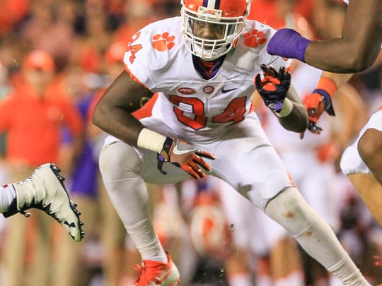 Clemson linebacker Kendall Joseph (34) during the second quarter at Jordan-Hare Stadium in Auburn, Alabama.