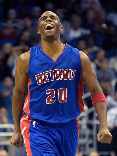 Detroit Pistons guard Jodie Meeks reacts after scoring