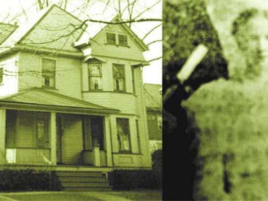 A historic image of 51 Donaldson Avenue, the long-time Rutherford home of the Brinkerhoff family. Built about 1890, the house has had little change to its exterior and is proposed to be included on Rutherford's Historic Sites Inventory. The photo of Mae Brinkerhoff, right, was taken at her June 1898 graduation from Rutherford's old Park School, which was closed in the mid-1930s and converted to its present use as Rutherford Borough Hall.