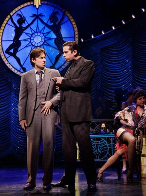 Zach Braff, as David Shayne, and Nick Cordero, as Cheech, in a scene from the Broadway play 'Bullets Over Broadway.'