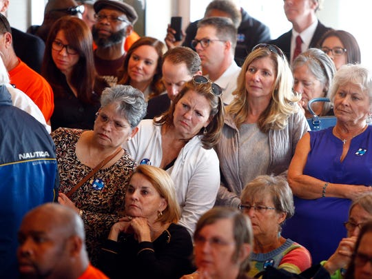 People lean in to listen during Chelsea Clinton's noontime appearence at Charlie's Ocean Grill in Long Branch, NJ, Tuesday, May 17, 2016.  This was the first of two stops in Monmouth County she made in support of her mother Hillary Clinton's presidential campaign.   (Photo by Thomas P. Costello / Asbury Park Press)