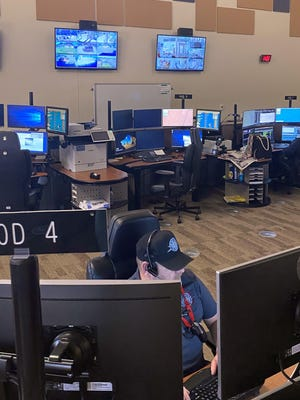 Pueblo County Sheriff Dispatcher Ben Smith (front) and Supervisor Dani Perea are able to be more efficient thanks to $389,000 worth of upgrades to the 911 center.