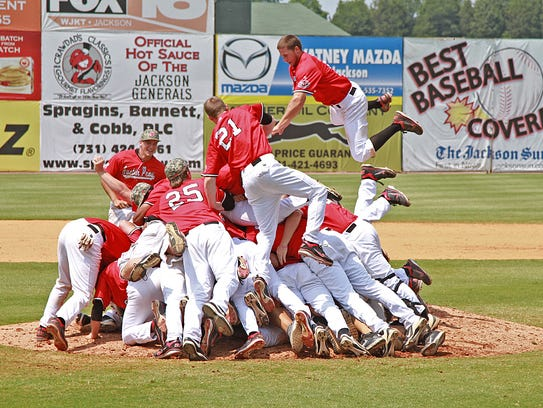 Austin Peay baseball team members celebrate winning