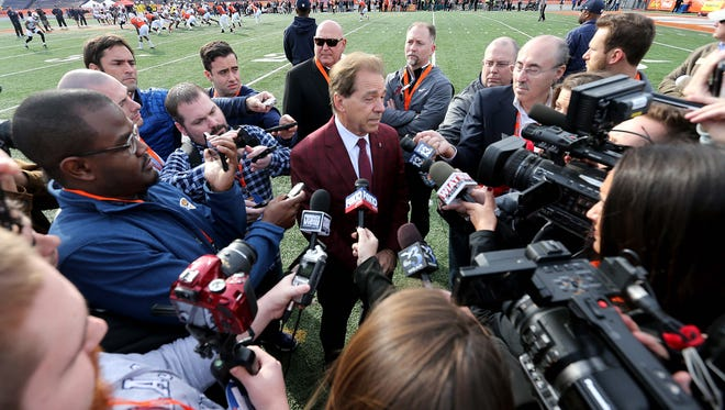 Jan 24, 2018; Mobile, AL, USA; Alabama Crimson Tide head coach Nick Saban talks to the media during Senior Bowl practice at Ladd-Peebles Stadium. Mandatory Credit: Chuck Cook-USA TODAY Sports