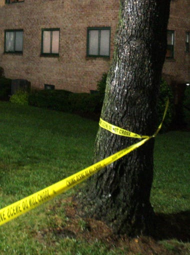The scene in front of the couples apartment the night of the murders.