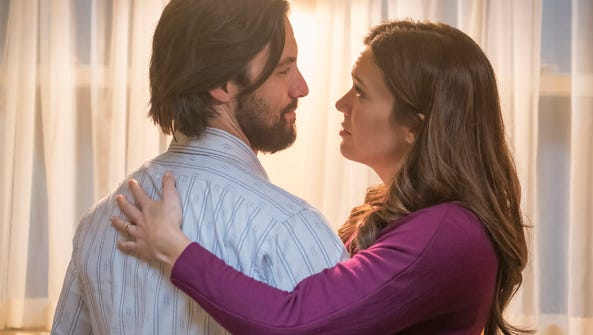 Milo Ventimiglia as Jack, Mandy Moore as Rebecca.