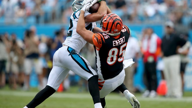 Cincinnati Bengals tight end Tyler Eifert (85) completes a catch in the third quarter during a Week 3 NFL game between the Cincinnati Bengals and the Carolina Panthers, Sunday, Sept. 23, 2018, at Bank of America Stadium in Charlotte, North Carolina. Carolina won 31-21.