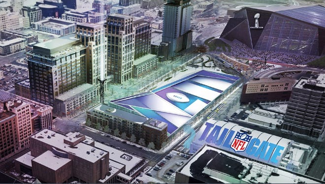 In this artist's rendering provided by the Minnesota Vikings on Wednesday, May 21, 2014, a Super Bowl LII logo covers a seven-acre prime space for an NFL tailgate party next to the new stadium, top right, which is under construction in Minneapolis. The image was part of the presentation made to NFL team owners before they voted to hold the 2018 Super Bowl in Minneapolis. (AP Photo/Minnesota Vikings)