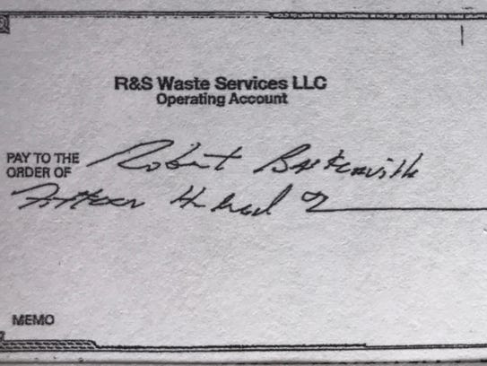Copy of a check Robert Baskerville said he received