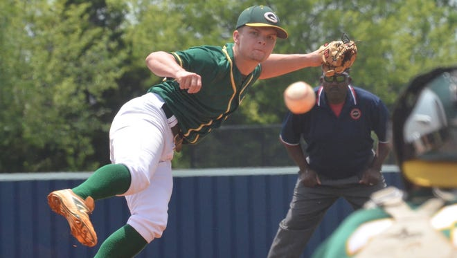 Gallatin High senior James Rockwell delivers a second-inning strike during Saturday afternoon's 10-0, six-inning loss at Summit.