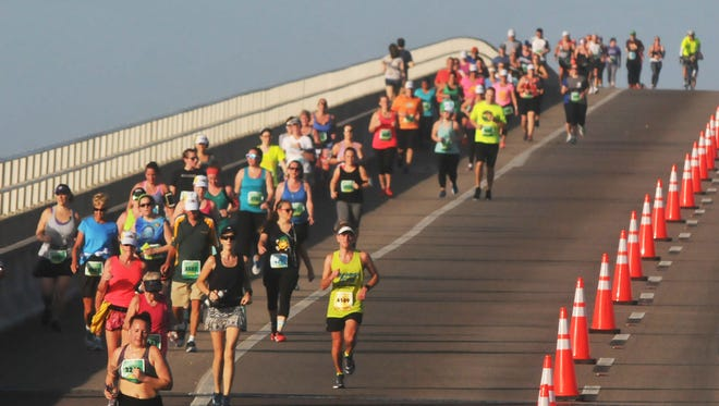 The 2018 Publix Florida Marathon and Half Marathon in Mebourne. The course took the runners over the Eau Galiie and Melbourne Causeways.