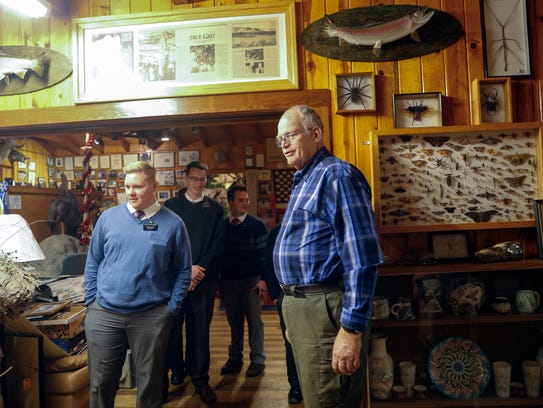 Tommy Bolack welcomes visitors to his museum on Monday at his home in Farmington.