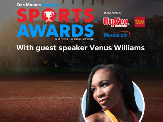 Venus Williams headlines this year's All-Iowa Sports Awards.