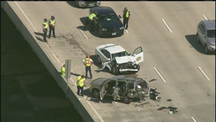 An accident involving a MSHP vehicle closed 3 westbound