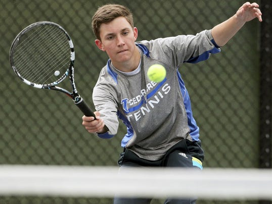 Cedar Crest's Nick Tull teamed with Colin Muraika to capture the L-L Class AAA doubles championship on Monday.