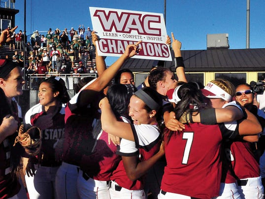 Jaime Guzman/For the Sun-News   New Mexico State's softball team won its second Western Athletic Conference championship this season. It was one of 11 WAC titles in seven different sports in a dominant 2014-15 school year.