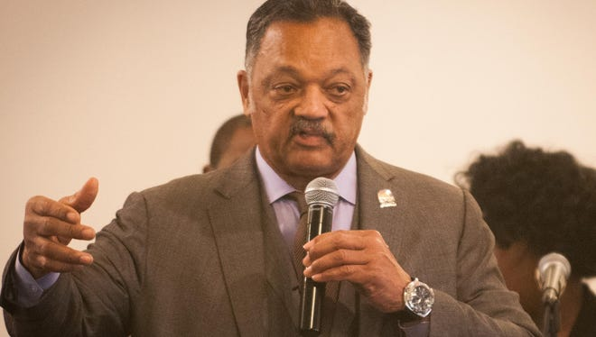Rev. Jesse Jackson speaks during a rally about the water crises at the Heavenly Host Church of the Harvest in Flint.