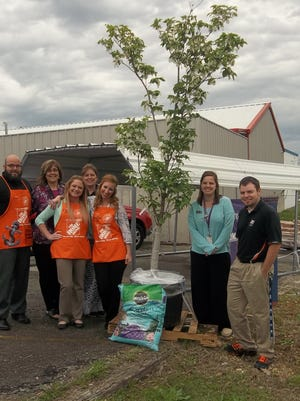 Several Home Depot employees joined Serenity, Inc., staff members on Arbor Day to plant a flowering dogwood tree Home Depot donated to help beautify the shelter's grounds. Shown are Home Depot specialty manager Eric Spelbring, Serenity volunteer coordinator Melinda Fulton, Home Depot operations manager Shari Wayland, Serenity outreach case manager Connie Davenport, Home Depot HR Manager Kayla Cantrell, Serenity program coordinator Sandy LaBahn and Home Depot Department supervisor RJ Finley.