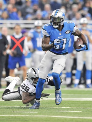 Calvin Johnson runs after a catch during the Lions' win over the Raiders last week.