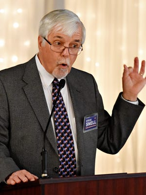 Pennsylvania House 94th District candidate Steve Snell speaks during the 2018 State of the County Committee Breakfast at Wisehaven Event Center in Windsor Township, Saturday, April 7, 2018. Dawn J. Sagert photo