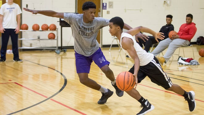 Central's basketball team runs drill Monday evening inside the gym at Central High School. After the graduation of Phillip Corthen, Andre Jones and Donald Allen, the Bearcats will be smaller but look to offset the loss with speed.