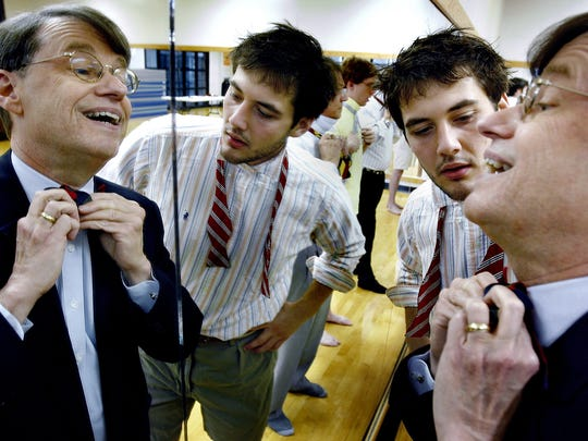 In recent years the bow tie has dusted off its pocket protector persona and made a comeback within the twenty something crowd. The bow tie has found a revitalized fashion life because it exudes an air of confidence and creditability, yet is quirky enough for a young hipster to maintain his uniqueness. Over the last couple of years Rhodes College graduating seniors like Will Donnell, middle, have gotten a final lesson from college president Dr. William E. Troutt on the art of bow tying.