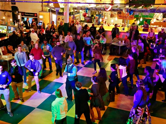 Salsa lessons during First Friday Latino at Central Market in York City, Friday, April 6, 2018. Dawn J. Sagert photo