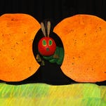 """""""The Very Hungry Caterpillar"""" and other favorite characters of children's author Eric Carle are brought to colorful life by the puppeteers of Mermaid Theatre, this weekend at Red Bank's Two River Theater."""