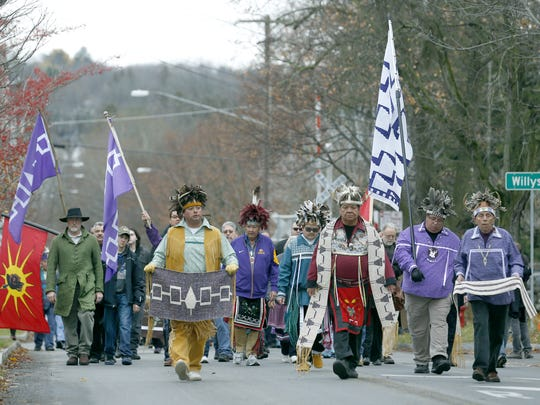Parade of Native American groups with Canandaigua residents from Canandaigua Primary School to Ontario Co. Courthouse, to commemorating the signing of a peace treaty in the 1700s.