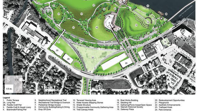 The master plan for Arrowhead Park shows a large community building on the footprint of the former Fox Valley Energy Center. Mayor Dean Kaufert didn't fund the $17 million requested for the building.