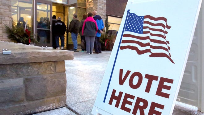 Voters spilled out the door of the Sussex Civic Center as a estimated 50 percent turnout went to the polls for the Spring primary and the Hamilton School District's $59 million referendum on Feb. 20.