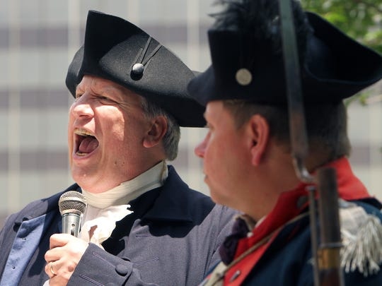Park Ranger Tom Winslow during the annual Reading of the Declaration of Independence on the Morristown Green as part of Revolutionary Times 2017.  Winslow has read the Declaration in Morristown for the past 27 years. July 4, 2017. Morristown, NJ.