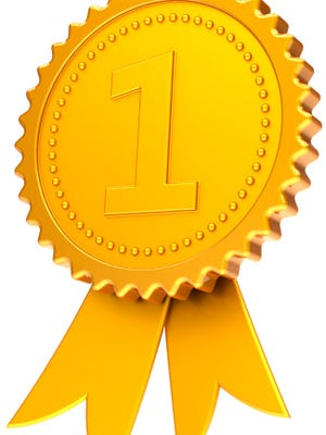 Gold medal number one award ribbon first place golden symbol
