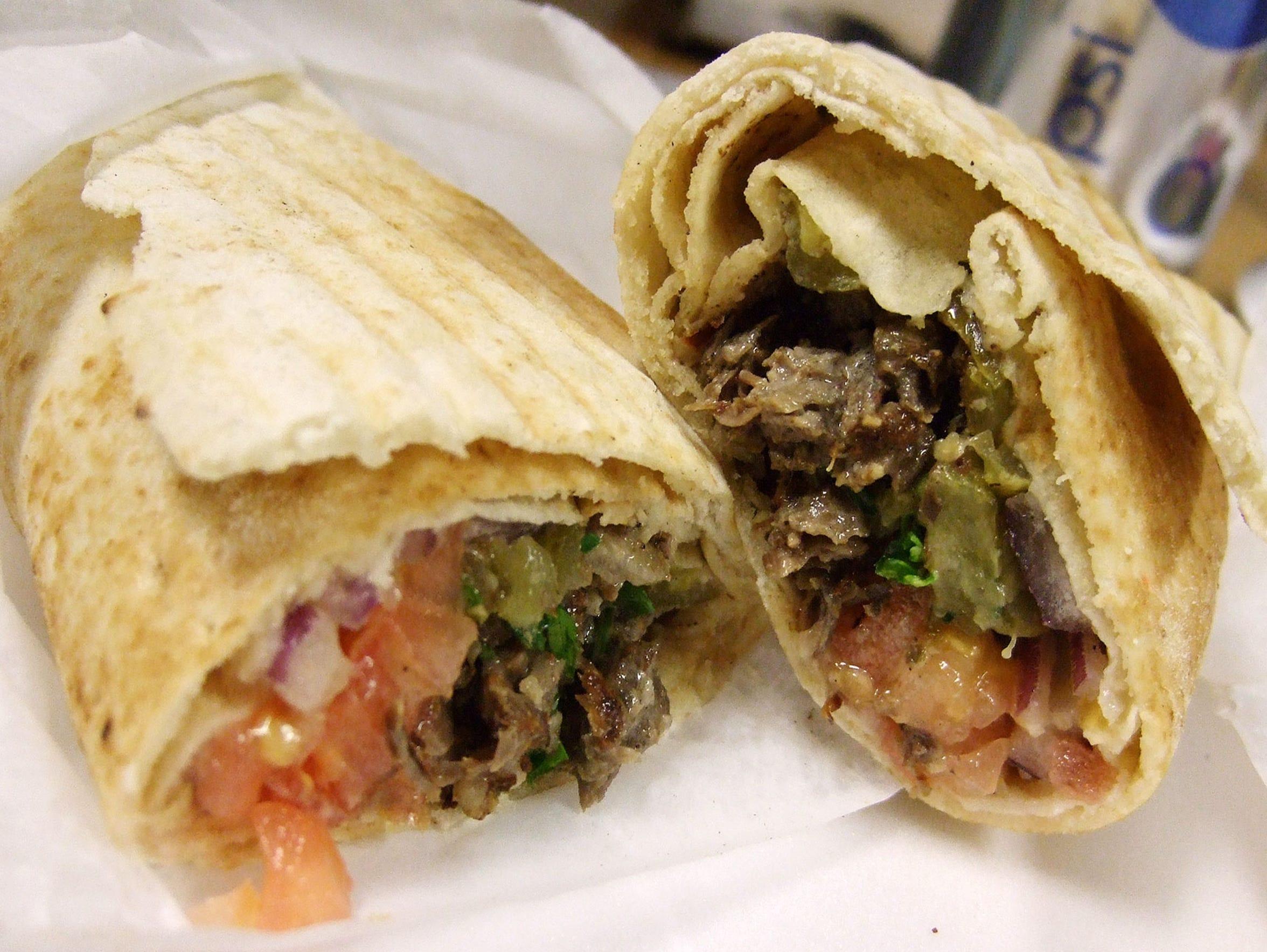 The beef shawarma sandwich at Al-Hana Restaurant in Phoenix.