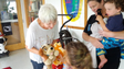 Nancy Proto, wife of Cape Charles mayor George Proto, hands stuffed animals to Cheriton Station to comfort kids affected by the severe storm that passed through Cheriton Thursday, July 24, 2014. Numerous injuries were reported at Cherrystone Campground as a result of the storm.