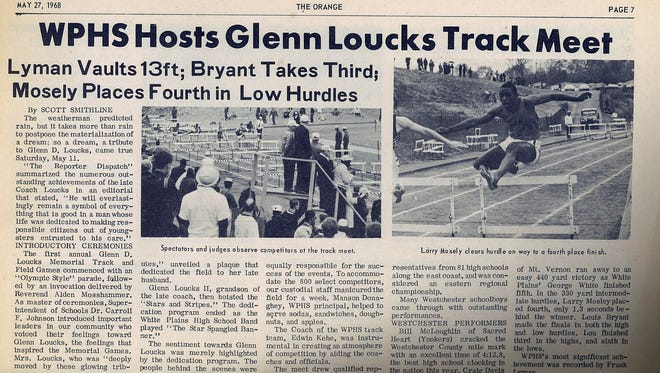 Page from 1968 White Plains High School newspaper, The Orange, reports on first Loucks Games