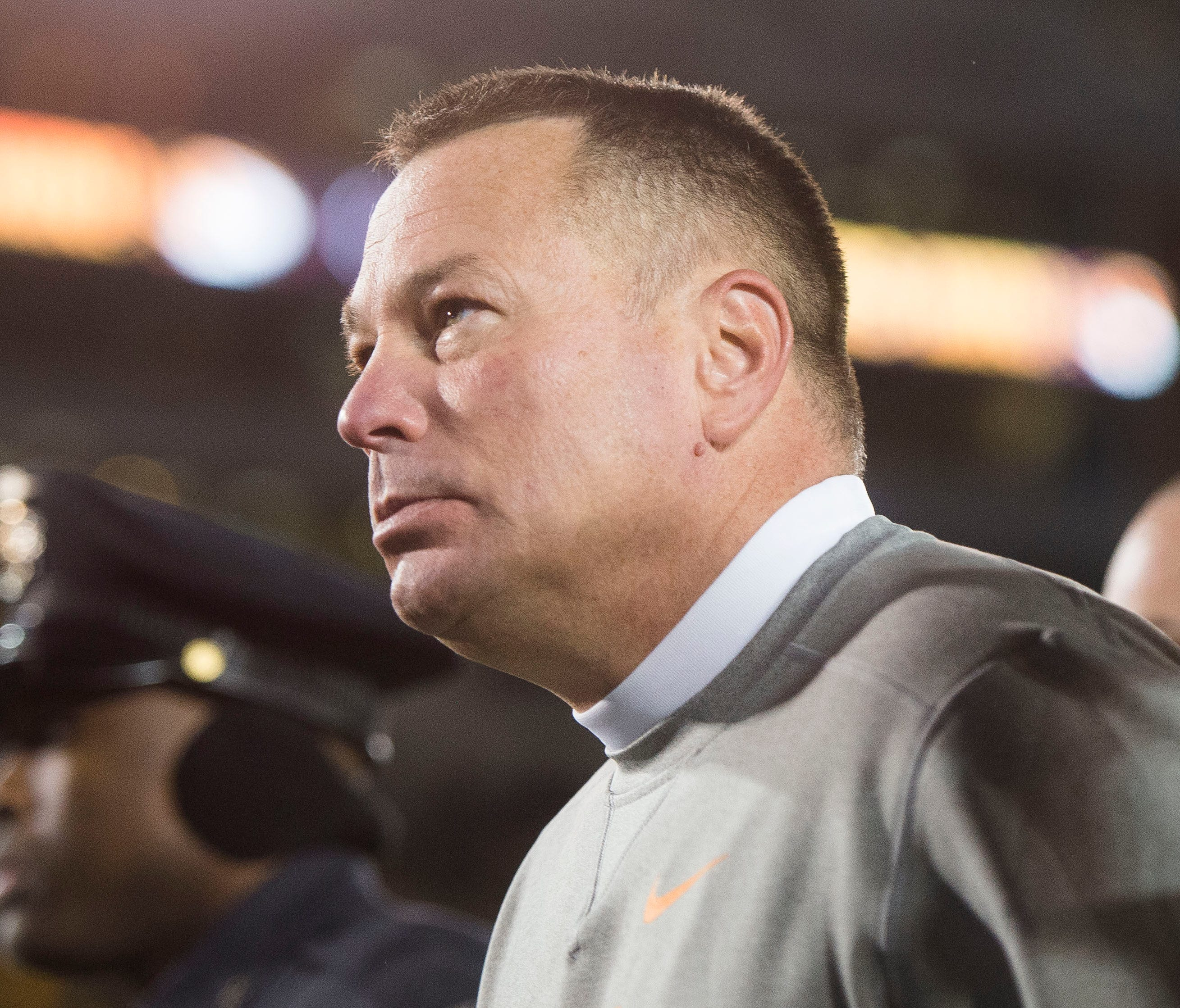Tennessee Head Coach Butch Jones walks off the field after a game between Tennessee and Missouri at Faurot Field in Columbia, Missouri, on Saturday November 11, 2017. Missouri defeated Tennessee 50 to 17.