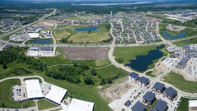 An aerial photo of Ankeny in the Prairie Trail area.