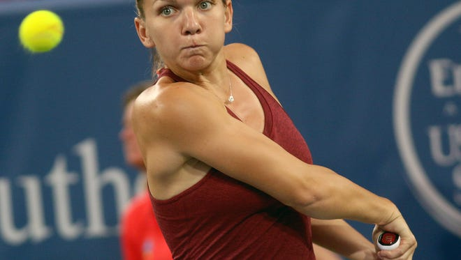 Simona Halep during her match with Agnieszka Radwanska at the Western and Southern Open, Friday, Aug. 19, 2016.