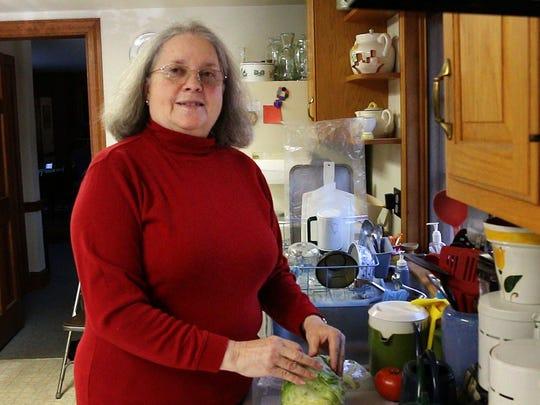 Alison Senter, New Lisbon, in her kitchen, a week after undergoing a cardiac procedure, using a Stereotaxis robot, for her atrial fibrillation.—January 21, 2016-New Lisbon NJ.-Staff photographer/Bob Bielk/Asbury Park Press