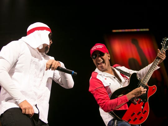B-Real and Tom Morello of Prophets of Rage perform at Ak-Chin Pavilion in Phoenix on Sat, Sep. 17, 2016.