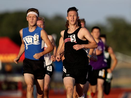 Foothill High School's Thurman Knowles (right) competes in the boys 800-meter race Friday at West Valley High School. Knowles won the event and will be competing at state Friday in Clovis.