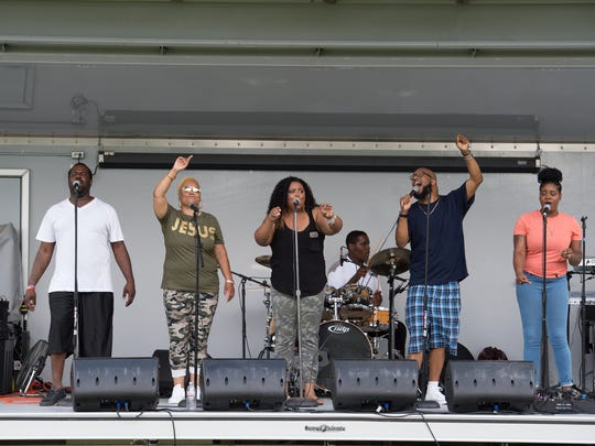 Gospel music being played at third annual anti-violence War Cry Gospel Concert at Wilmington's Prices Park (Brown-Burton Winchester Park).