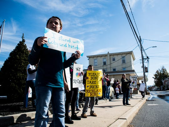 as a protest was held against a Richland Borough zoning ordinance on Saturday, Oct. 28, 2017. Liam Allen, 12, organized a protest to support his friend Coby Ortiz after the Ortiz's were found in violation of an ordinance that prohibits agriculture operations at homes in Richland Borough.