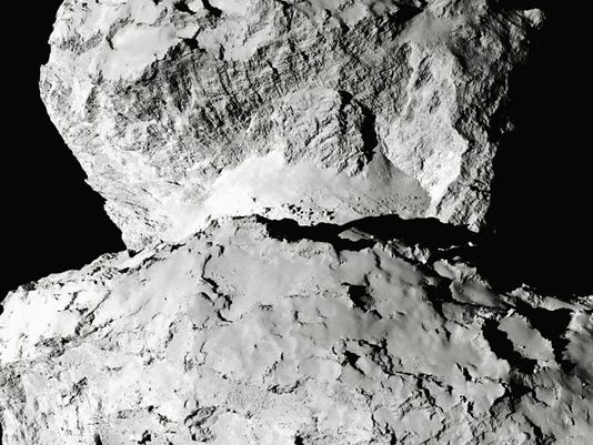 An up close image of comet 67P/Churyumov-Gerasimenkotaken by the Rosetta spacecraft's OSIRIS narrow-angle camera on August 7, 2014.