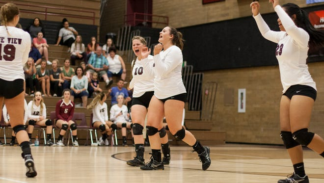 The Pine View volleyball team snapped a series-long losing streak to Enterprise with a hard-fought fifth set victory at home Tuesday night.