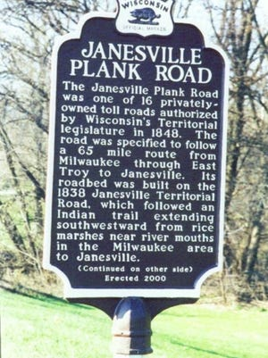 An example of the kind of metal historical marker that will be erected in Konkel Park now stands on Janesville Road.