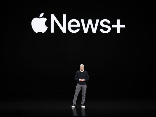 Apple CEO Tim Cook at the Steve Jobs Theater during an event to announce new products Monday, March. 25, 2019, in Cupertino, Calif.
