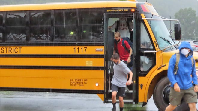 Delaware Valley High School students arrive at school early Wednesday morning, each wearing a required mask.