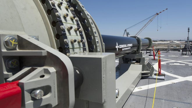 Researchers at MSU's Center for Vehicular Systems are designing control systems that will allow an all-electric Naval ship to transfer power to advanced weapons systems such as the Navy's electromagnetic railgun, pictured on display aboard the USS Millinocket in port at Naval Base San Diego.